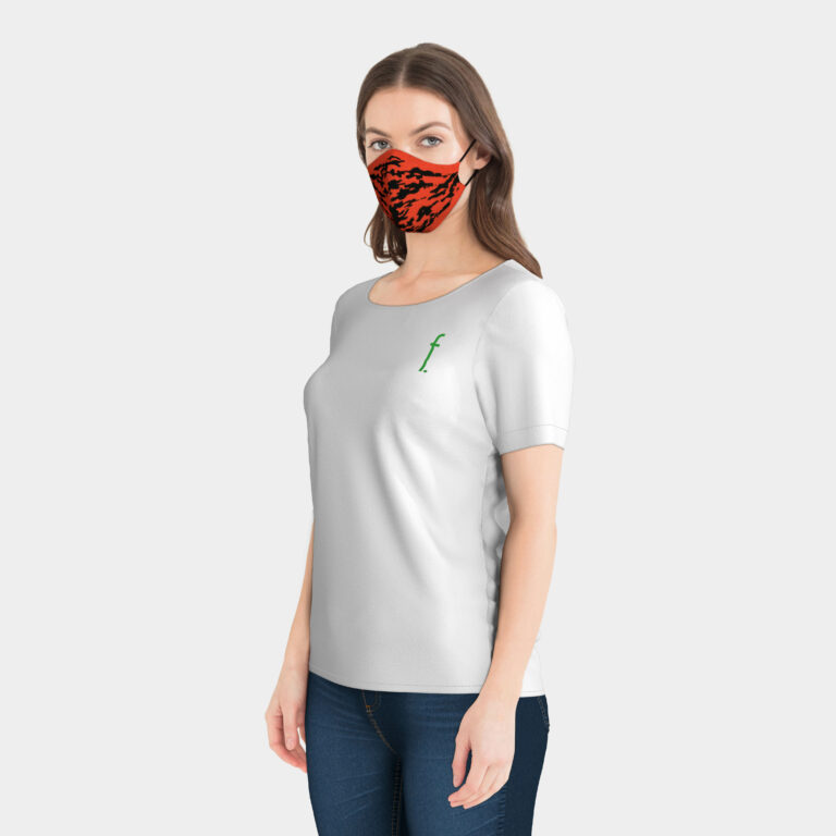 Taylor_3D_facial_mask_knitted_black_orange_camouflage